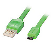 LINDY 30915 USB 2.0 Flat Reversible Cable - Green. Type A/Micro-B. 0.5m
