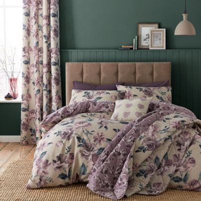 Catherine Lansfield Painted Floral Plum Duvet Cover Set - Single