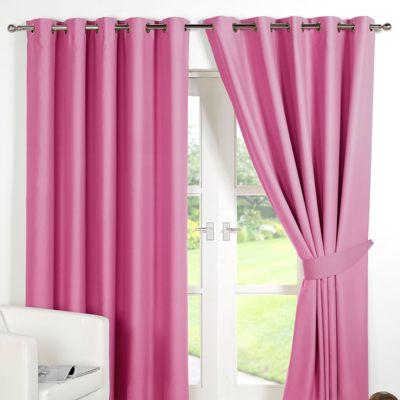 Dreamscene Pair Thermal Blackout Eyelet Curtains, Pink - 90