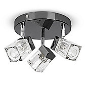 IP44 3 Way Ice Cube Bathroom Ceiling Spotlight, Black Chrome