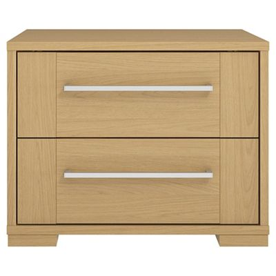 Adria Oak 2 Drawer Chest With Oak Shaker Drawers, Chrome Handle