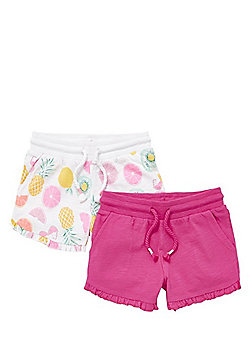 F&F 2 Pack of Fruit Print and Plain Shorts - Pink