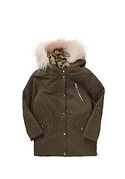 F&F Faux Fur Trim 3 in 1 Parka - Khaki