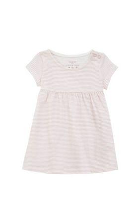 F&F Striped Smock Dress Pink/White 0-3 months