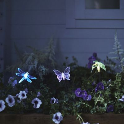 Colour Changing LED Dragonfly, Butterfly & Hummingbird Solar Garden Stake Lights