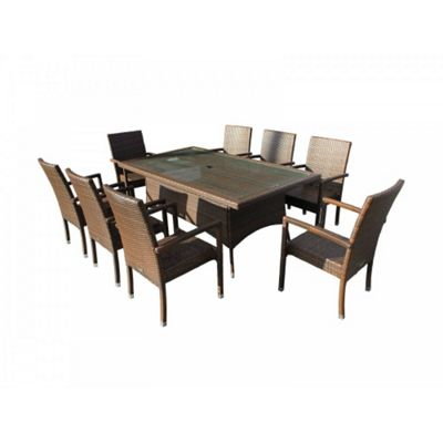 Rio (Armed) 8 Chairs And Large Rectangular Table Set in Chocolate Mix