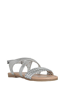 F&F Weave Strap Detail Sandals - Silver
