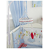 Red Kite Bertie Bear Cot Music Mobile Blue