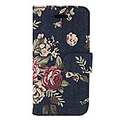 Tortoise™ Folio Case with inside Pocket, iPhone 5/5S, Denim with a Floral design,Navy.