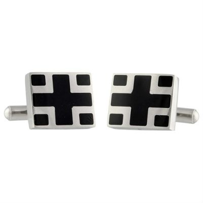Urban Male Hiovia Rectangle Black and Silver Finish Stainless Steel Cufflinks For Men