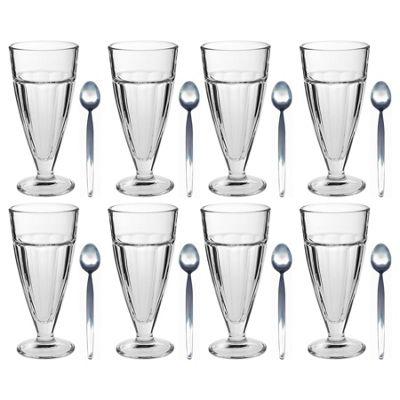 Argon Tableware Knickerbocker Glory Dessert Sundae Glasses & Latte Spoons - 350ml - Set of 8
