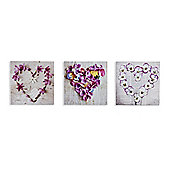 Pansy Floral Hearts Set of 3 printed Canvas 20cm x 20cm Each