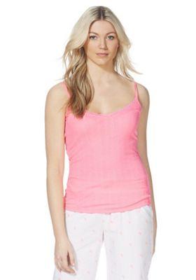 F&F Lace Trim Rib Knit Lounge Cami Top Pink 8-10