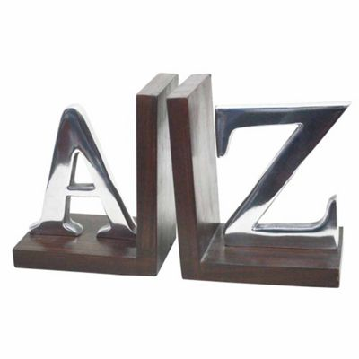 Homescapes Metal Wood Bookends Support - A - Z