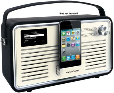VIEWQUEST RETRO WIFI INTERNET/DAB+/FM RADIO WITH IPOD DOCK (BLACK AND GREY)