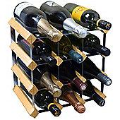 Harbour Housewares 12 Bottle Wine Rack - Fully Assembled - Light Wood