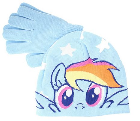 My Little Pony Rainbow Dash Girls Blue Winter Hat   Gloves Set - One Size  Catalogue Number  233-6067 711f601d71b