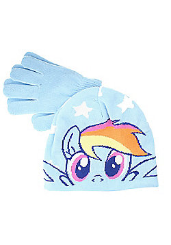 My Little Pony Rainbow Dash Girls Blue Winter Hat & Gloves Set - One Size