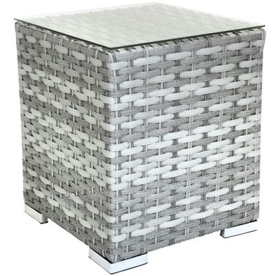 Charles Bentley Milano Grey Rattan Side Table With Glass Top
