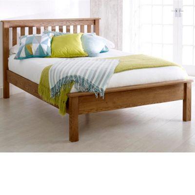 Happy Beds Malvern Wood Low Foot End Bed with Memory Foam Mattress - Oak - 4ft6 Double