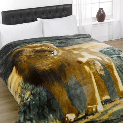 Dreamscene Animal Mink Faux Fur Blanket Throw, 200 x 240cm - Lion
