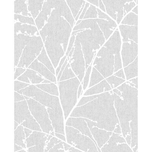 Superfresco Easy Innocence Paste The Wall Branch Grey Metallic Wallpaper
