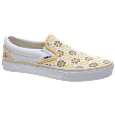 Vans Classic Slip On Mustard Gold/Snapdragon Geo Hibiscus Shoe 58591