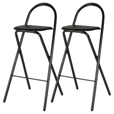 Pair of Folding Bar Stools - Black