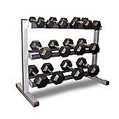 Body-Solid 3 Tier Rack & Body Power 2,4,6,8,10,12.5 & 15kg Rubber Hex Dumbbell Set