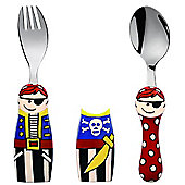 Kiddos Eat 4 Fun 2 Piece Fork and Spoon Children's Cutlery Set with Holders in Pirate Design K8624-10