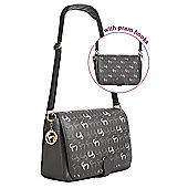 Clevamama Initials Collection Ellie Asphalt Messenger Baby Changing Bag & Mat