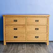 Surrey Oak 3+3 Chest of Drawers - Rustic Oak