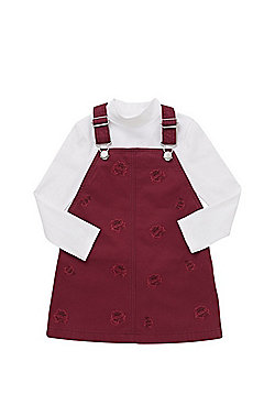 F&F Embroidered Rose Pinafore and High Neck T-Shirt Set - Burgundy