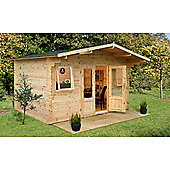 4.0m x 4.0m Log Cabin With 2 Windows + Glazed Double Doors - 34mm Wall Thickness