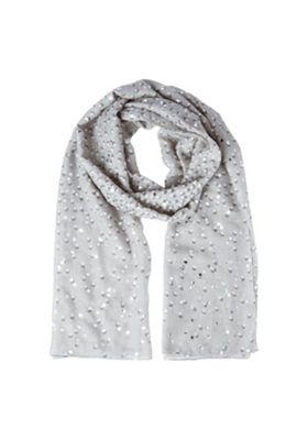 F&F Spotty Foil Print Scarf Grey One Size