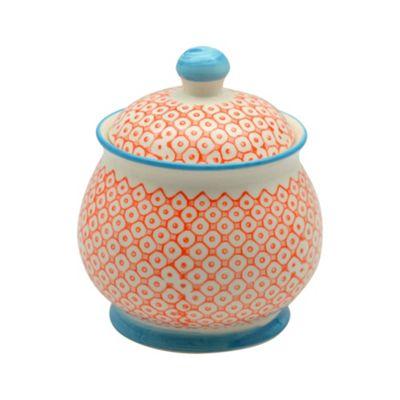 Patterned Sugar Bowl / Pot with Lid - Orange / Blue