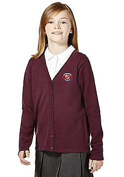 Girls Embroidered Scallop Edge School Cotton Cardigan with As New Technology - Burgundy