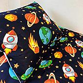 Cot Bed Duvet Cover Set 100% Cotton - Space Reversible