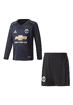 adidas Manchester United 2017/18 Kids Junior Mini Home Goalkeeper Kit - Blue