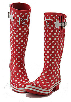 Evercreatures Ladies Evergreen Wellies White Polka Dots 6