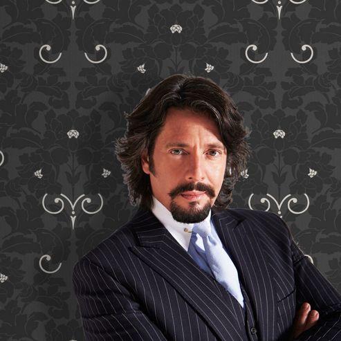 Designer Laurence Llewelyn-Bowen Paradise Metallic Damask Charcoal Wallpaper