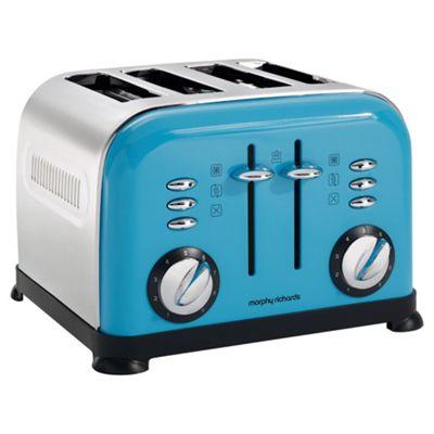 buy morphy richards 44799 accents 4 slice toaster cyan. Black Bedroom Furniture Sets. Home Design Ideas