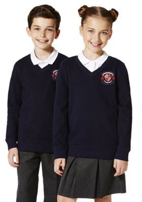 Unisex Embroidered V-Neck School Sweatshirt with As New Technology 2-3 years Navy blue