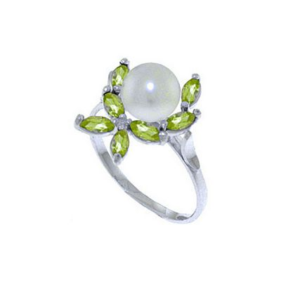 QP Jewellers Peridot & Pearl Ivy Ring in 14K White Gold - Size T 1/2