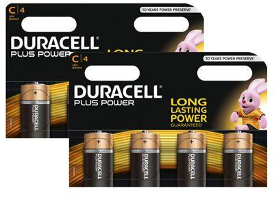 8 x Duracell C Size Plus Power MN1400 LR14 Alkaline Batteries