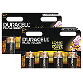 8 x Duracell C Size Plus Power MN1400 LR14 Alkaline Batteries