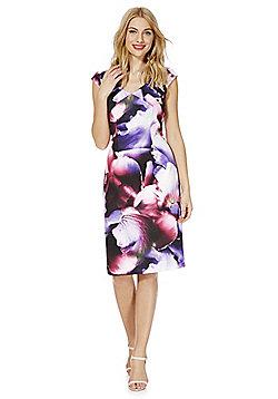 Roman Originals Floral Print Scuba Dress - Purple