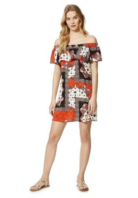 F&F Paisley Print Bardot Summer Dress Orange Multi 22