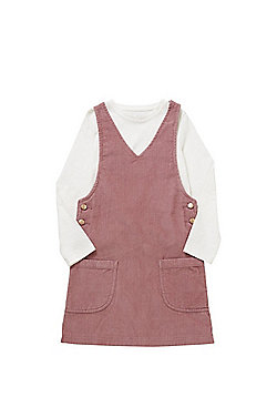 F&F Corduroy Pinafore and Long Sleeve T-Shirt Set - Pink