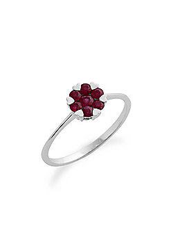 Gemondo Ruby Ring, 9ct White Gold 0.39ct Ruby Floral Cluster Ring